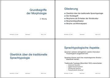Grundbegriffe der Morphologie Gliederung Überblick über die ...