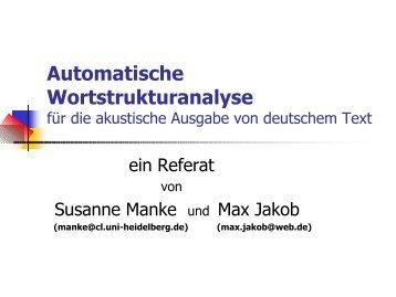 Automatische Wortstrukturanalyse