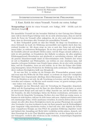 Interpretationskurs Theoretische Philosophie I. Kant ... - Claus Beisbart