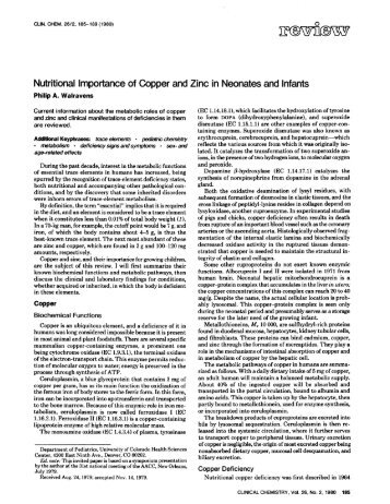 Nutritional Importance of Copper and Zinc in ... - Clinical Chemistry