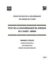 ÉTAT DE LA GOUVERNANCE EN AFRIQUE DE L ... - codesria