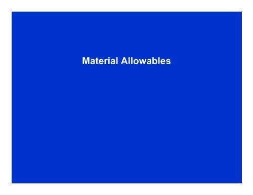 Material Allowables
