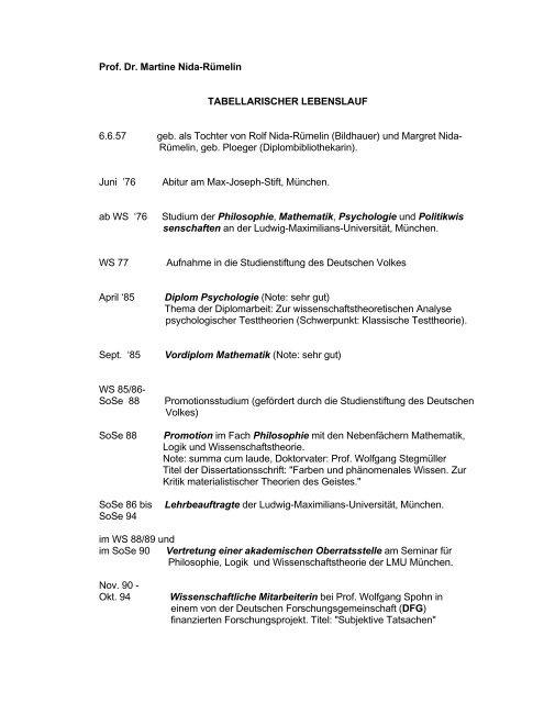 Prof Dr Martine Nida Rümelin Tabellarischer Lebenslauf