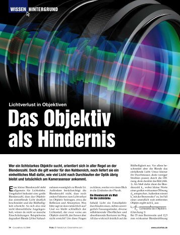 Wissen HinTeRGRUnD Lichtverlust in Objektiven - ColorFoto