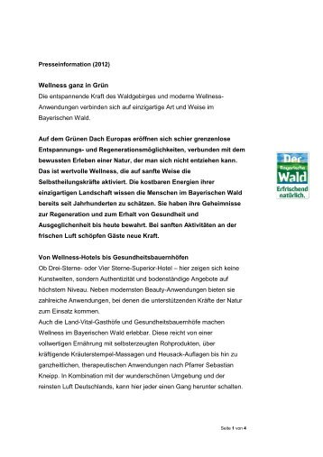 Wellness und Gesundheit im Bayerischen Wald - Comeo