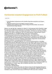 Continental erweitert Engagement im Profi-Fußball