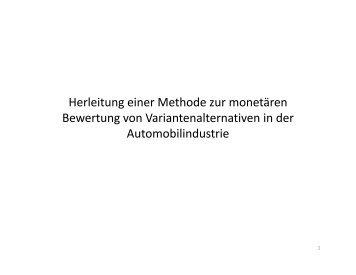 Herleitung einer Methode zur monetären Bewertung von ...
