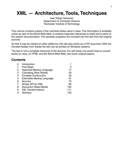 XML — Architecture, Tools, Techniques - Department of Computer ...