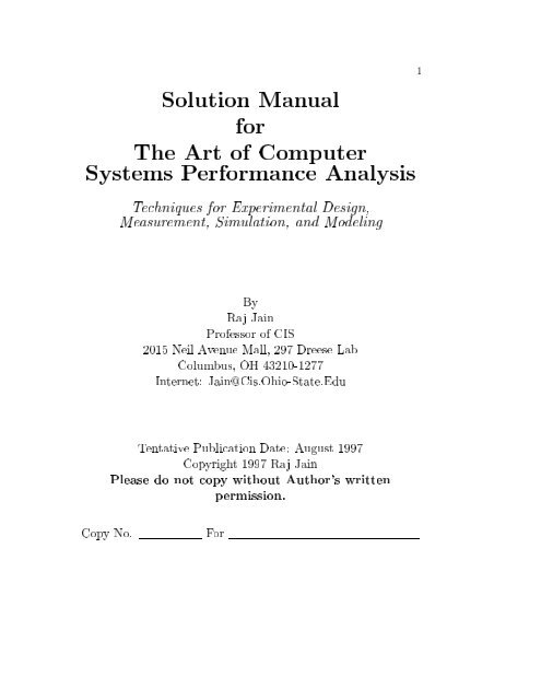 Art of Computer Systems Performance Analysis by Raj Jain ...