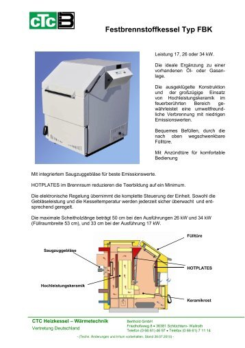 Festbrennstoffkessel Typ FBK - CTC Heizkessel