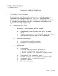 Hemostasis / Blood coagulation - Central Texas College
