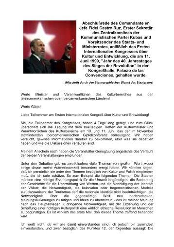 Abschlußrede des Comandante en Jefe Fidel Castro Ruz, Erster ...