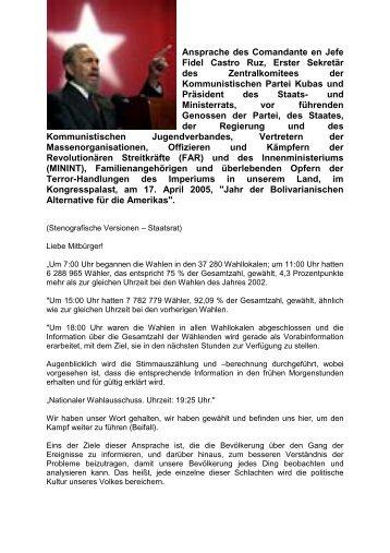 Ansprache des Comandante en Jefe Fidel Castro Ruz, Erster ...
