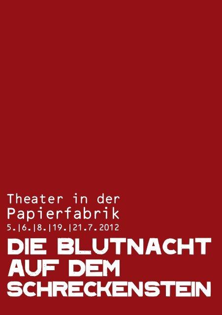 """Programmheft """"Die Blutnacht auf dem Schreckenstein"""" - Dachau"""
