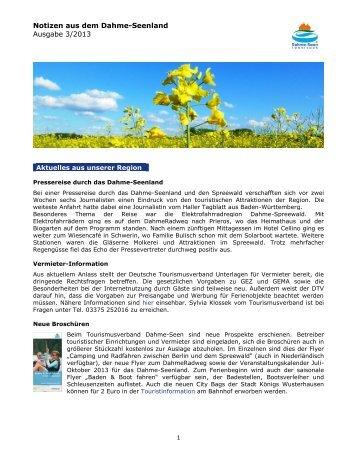 Newsletter Juni 2013 - Tourismusverband Dahme-Seen eV