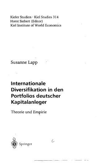 Internationale Diversifikation in den Portfolios deutscher ...
