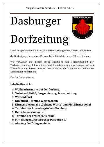 Dorfzeitung Dezember 2012 - Februar 2013 - Dasburg