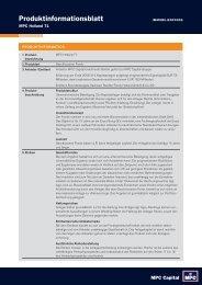 Produktinformationsblatt MPC Holland 71 - Das Investment