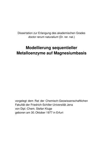 Modellierung sequentieller Metalloenzyme auf Magnesiumbasis
