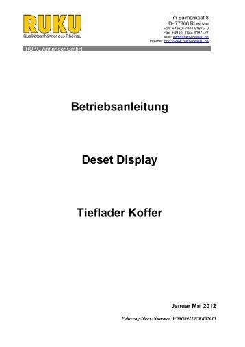 Betriebsanleitung Deset Display Tieflader Koffer