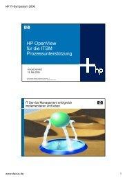 HP OpenView für die ITSM Prozessunterstützung