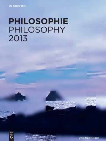 PHILOSOPHIE PHILOSOPHY 2013 - Walter de Gruyter