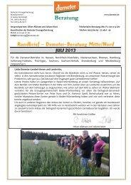 Beraterrundbrief Landwirtschaft Juli 2013 - Demeter