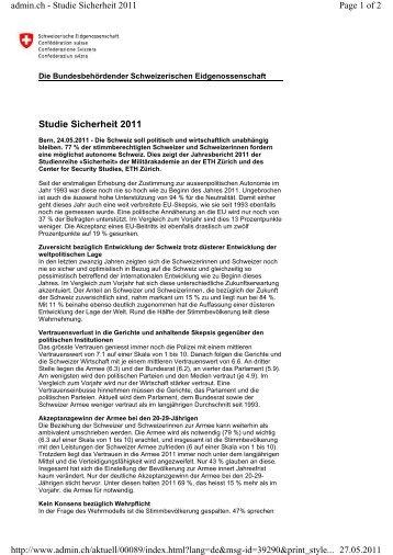 Studie Sicherheit 2011 Page 1 of 2 admin.ch ... - DemoSCOPE