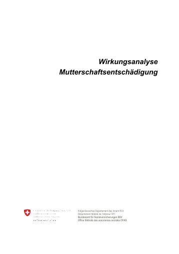Wirkungsanalyse Mutterschaftsentschädigung - Bundesamt für ...
