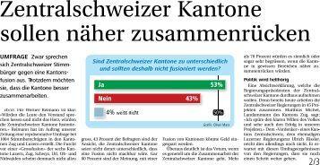 Umfrage zum Kanton Zentralschweiz - DemoSCOPE