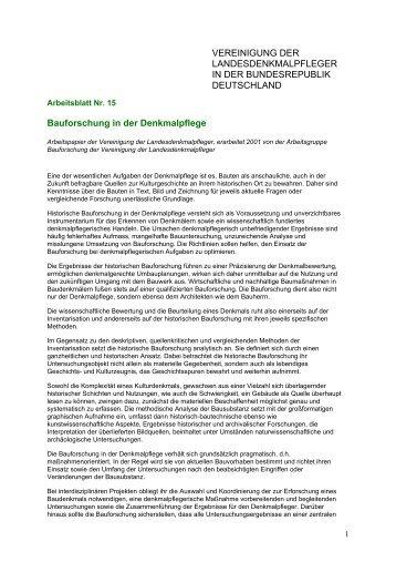 VEREINIGUNG DER LANDESDENKMALPFLEGER IN DER BUNDESREPUBLIK ...
