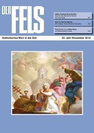 Katholisches Wort in die Zeit 43. Jahr November 2012 - Der Fels