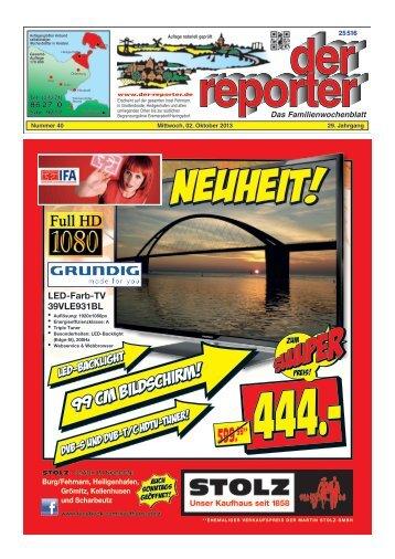 der reporter - Das Familienwochenblatt für Fehmarn 2013 KW 40