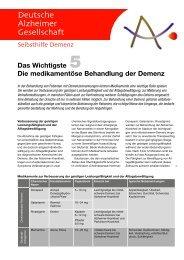 Das Wichtigste 5: Die medikamentöse Behandlung der Demenz