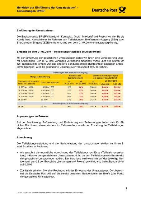 Merkblatt Zur Einführung Der Umsatzsteuer Teilleistungen Brief