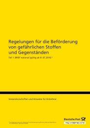 Regelungen für die Beförderung von gefährlichen ... - Deutsche Post