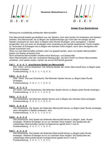 Deutscher Skatverband e.V. Anlage 10 zur Sportordnung Wertung ...