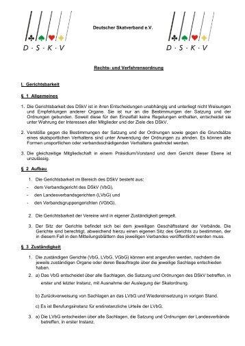Deutscher Skatverband e.V. Rechts- und Verfahrensordnung ... - DSkV