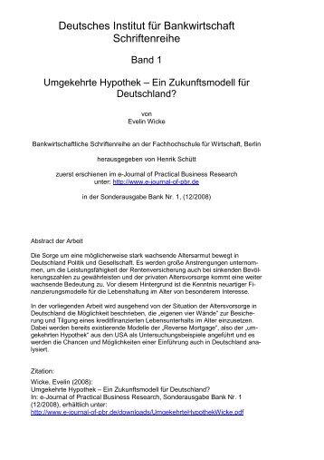 Umgekehrte Hypothek - Deutsches Institut für Bankwirtschaft