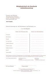 Mitgliedschaft als Geschenk - Deutsches Theater