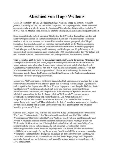 Abschied von Hugo Wellems - Deutschland Journal