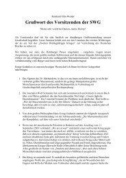 Grußwort des Vorsitzenden der SWG - Deutschland Journal