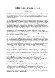 Ullrich Hoppe: Soldaten und andere Mörder - Deutschland Journal