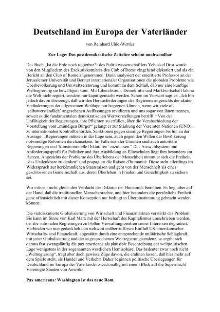 Reinhard Uhle-Wettler: Deutschland im Europa der Vaterländer