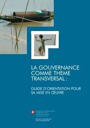 la gouvernance comme theme transversal - Deza - admin.ch