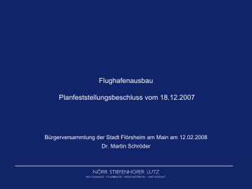 Flughafenausbau Planfeststellungsbeschluss vom 18.12.2007