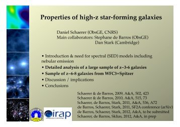 Properties of high-z star-forming galaxies