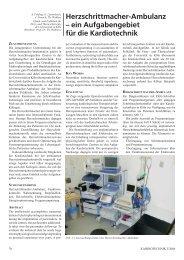 Ein Aufgabengebiet für die Kardiotechnik