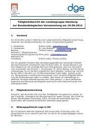 Tätigkeitsbericht der Landesgruppe Hamburg zur ...