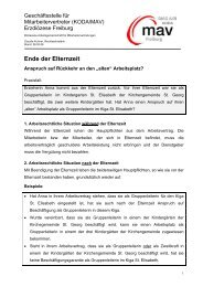 Elternzeit - Rückkehr - DIAG - MAV Freiburg